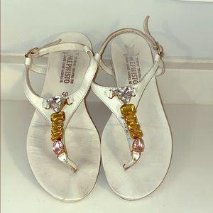 MEPHISTO Jeweled Leather Sandals